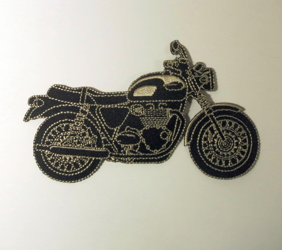 Bügelmotiv E Motorrad schwarz