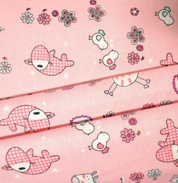 Baumwollstoff rosa bedruckt