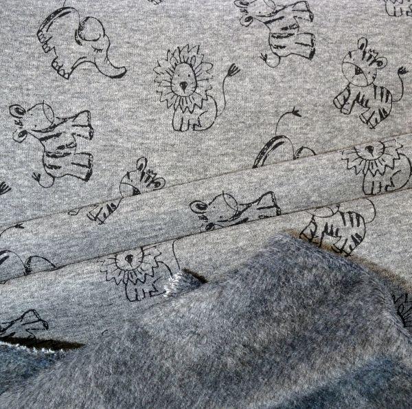 Kids Jerseystoff hellgrau mit Safari Tierprint