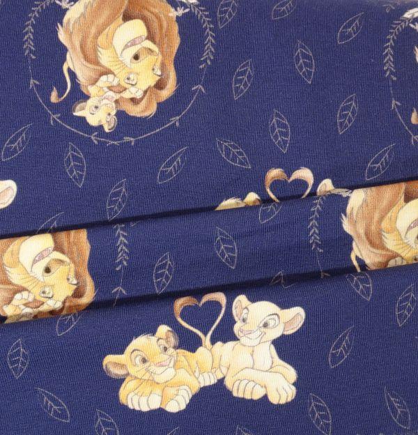 Kids Jerseystoff marineblau mit Disney Löwen