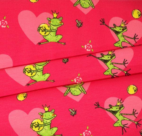 Kids Jerseystoff pink mit Froschkönig